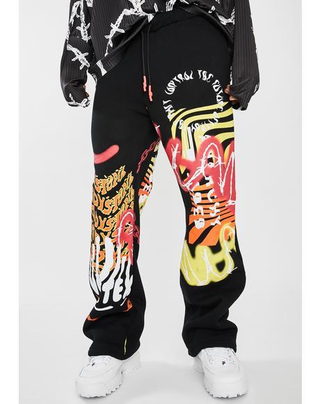 Vortex Graffiti Wide Leg Sweatpants