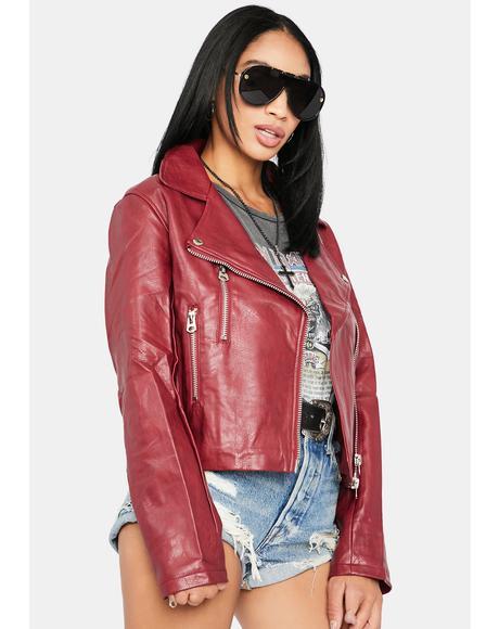 Cherry Ruffian Moto Jacket