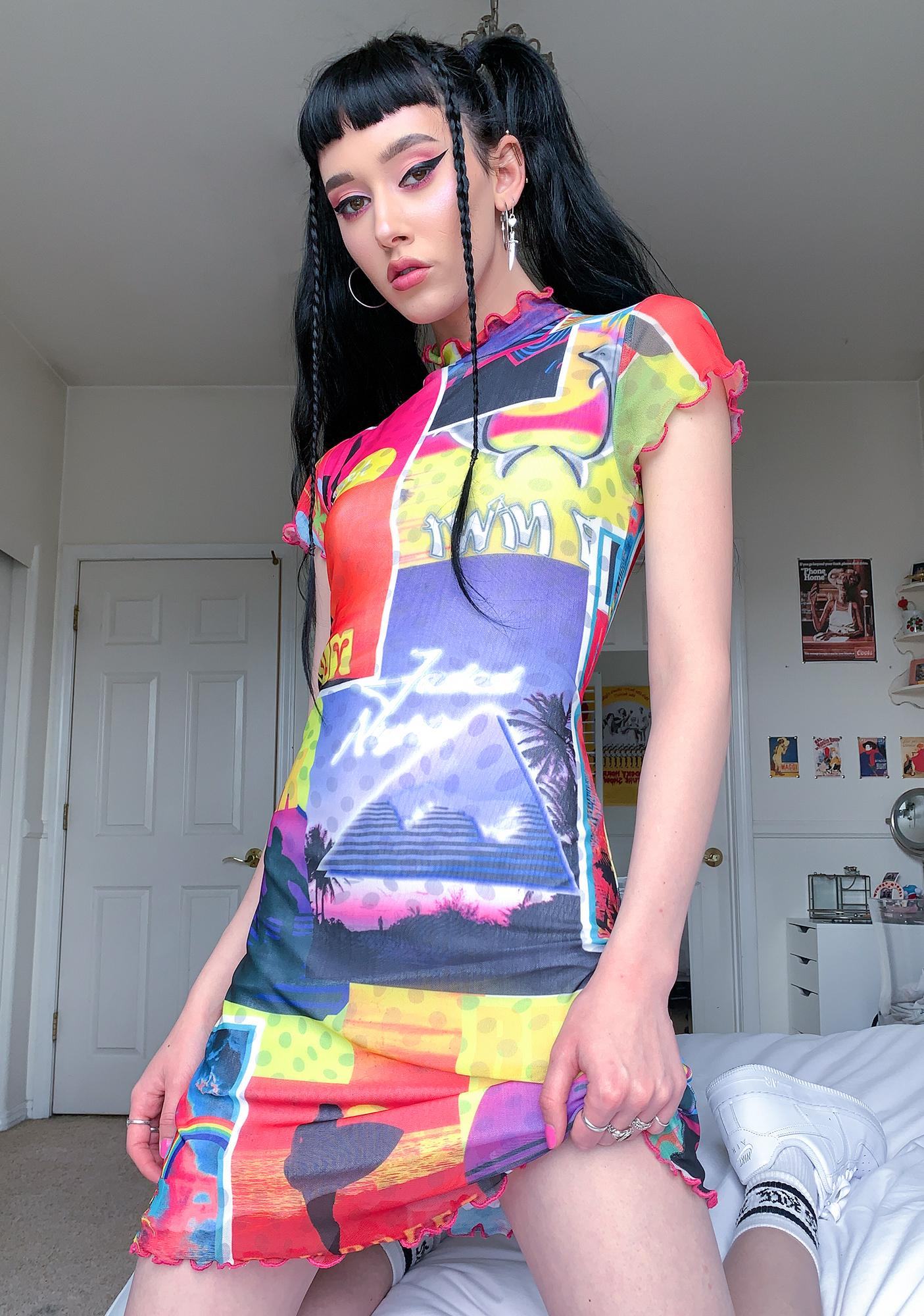 Jaded London Surf Poster Cap Sleeve Dress