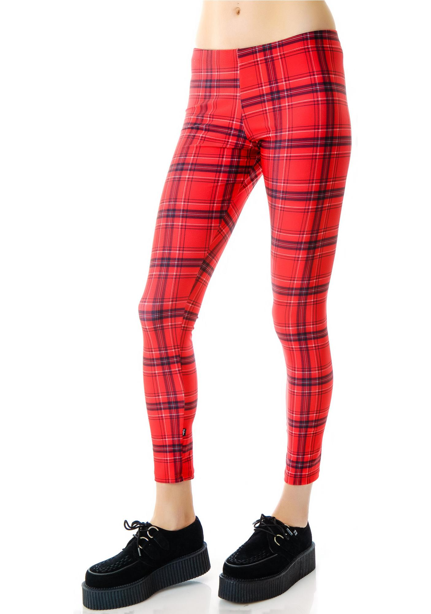 Terez Red Plaid Leggings