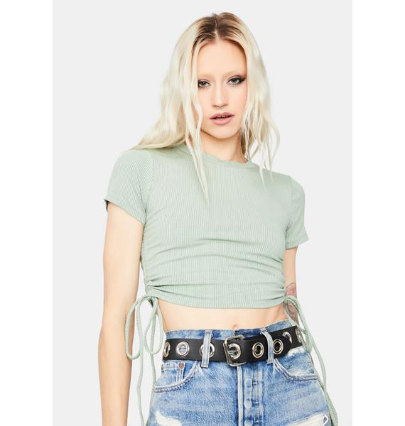 Sage Pretty Confessions Ruched Crop Tee Shirt