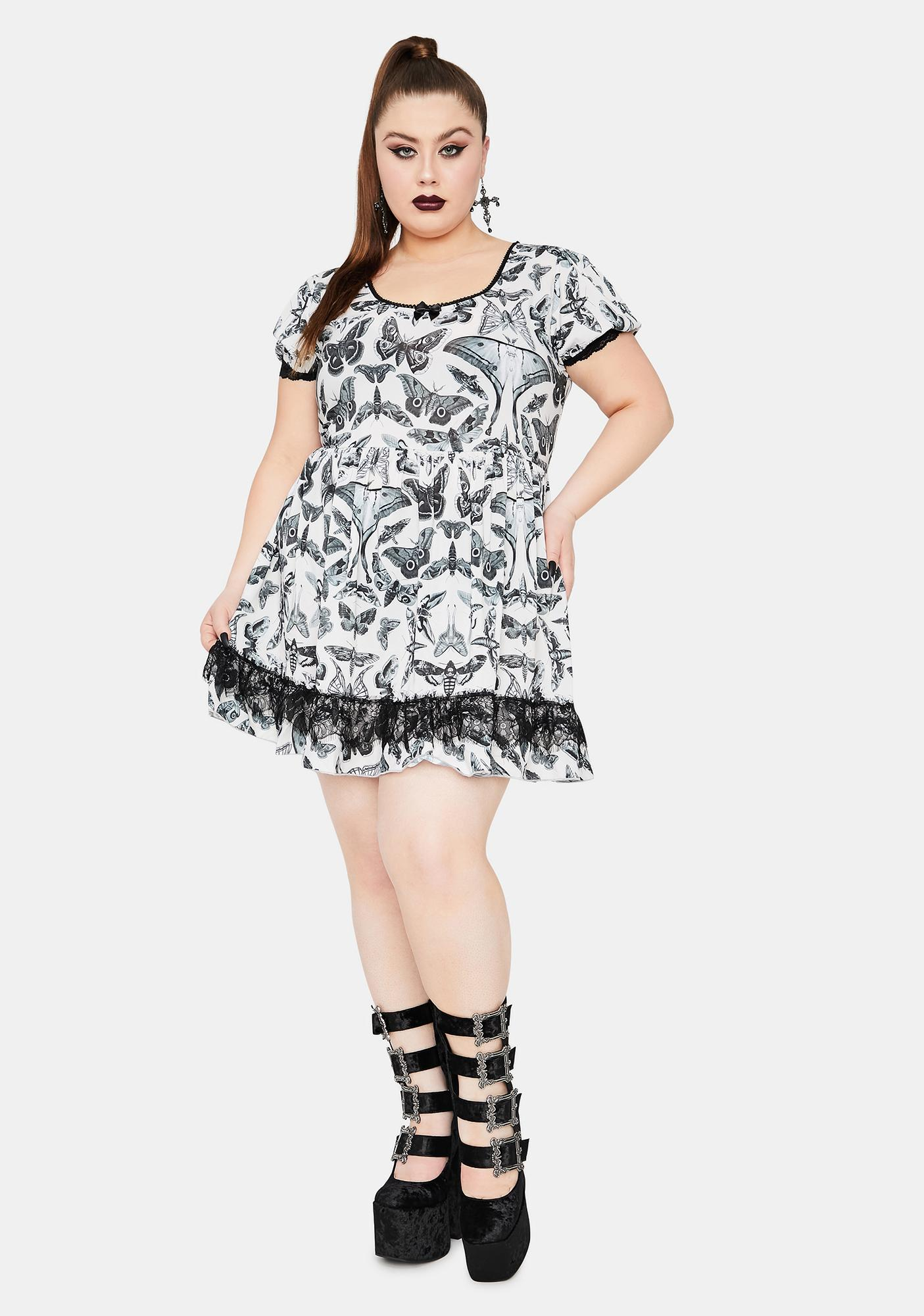 Widow Divine Spirit World Lace Trim Moth Print Dress