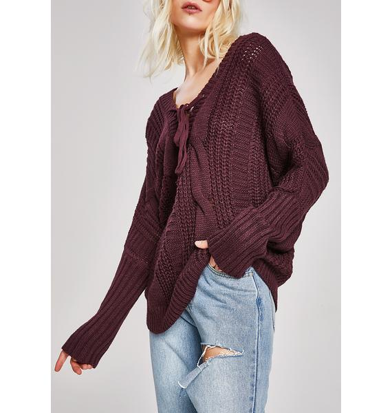 With My Woes Lace-Up Sweater
