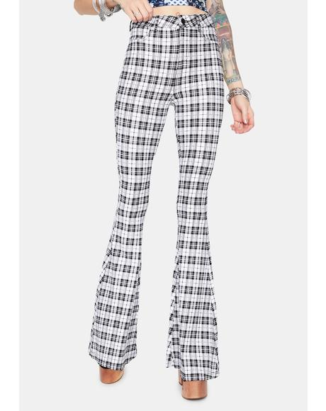 Chill Hip Check High Waisted Plaid Flares