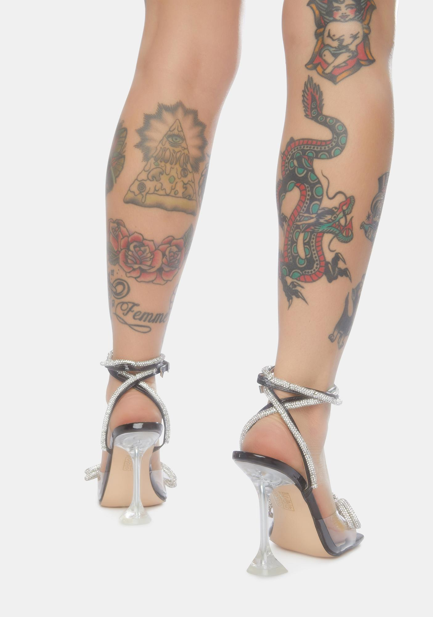 Public Desire Glimmer Wrap Around Diamante Bow Heels