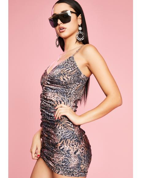 Fiercely Unphased Ruched Dress