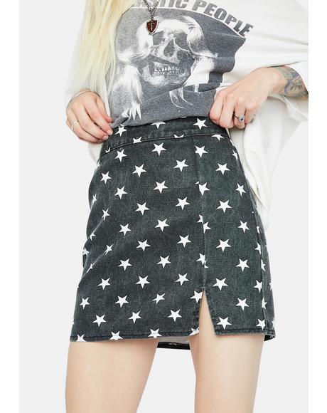 What's Your Sign Denim Mini Skirt