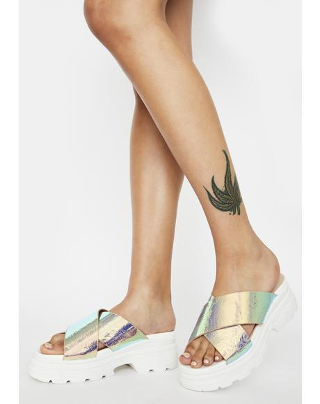 Iridescent Elma Platform Sandals