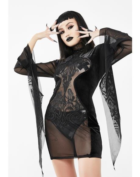 Mesh Bell Sleeve Mini Dress