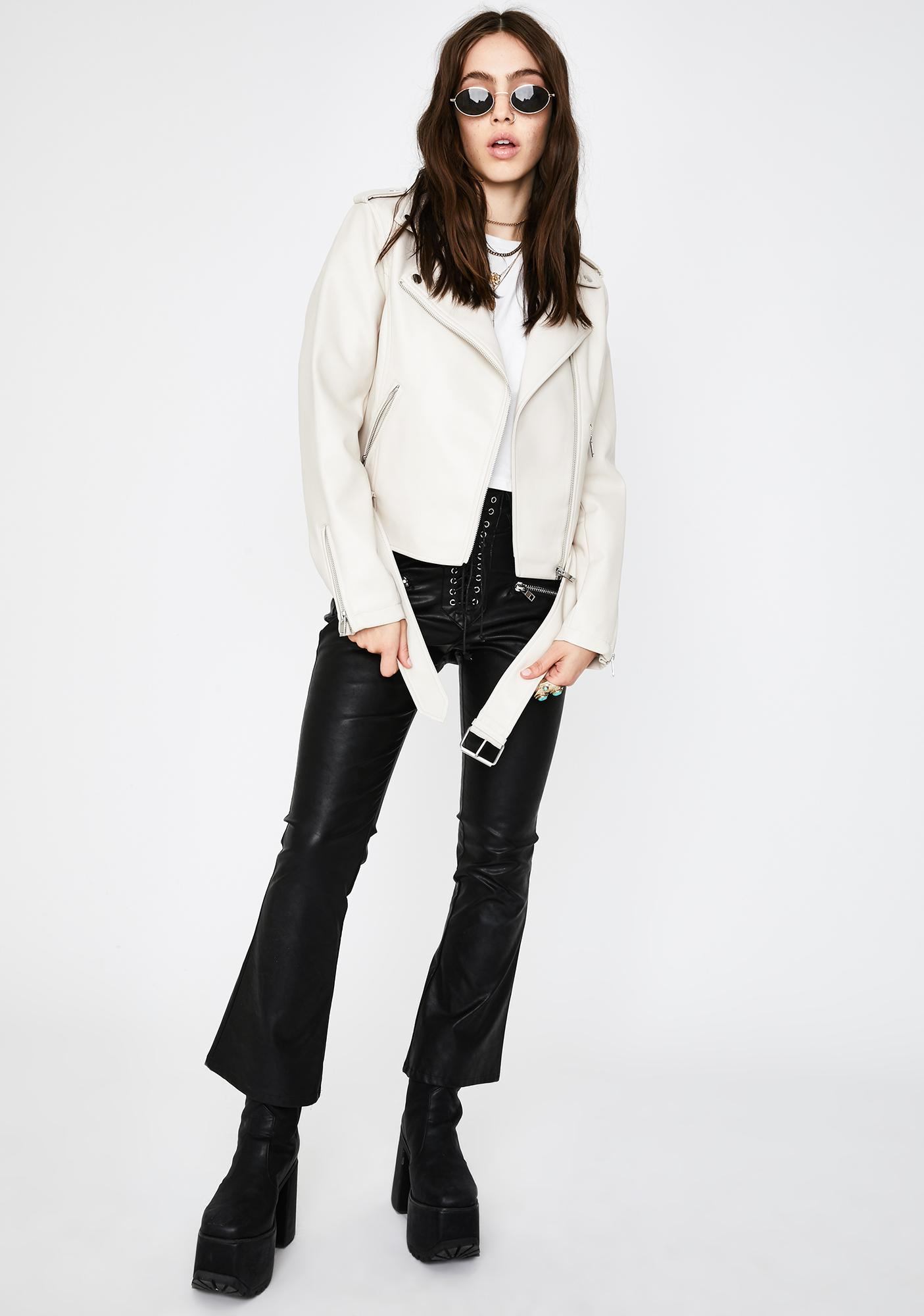 Glamorous Putty Belted Moto Jacket