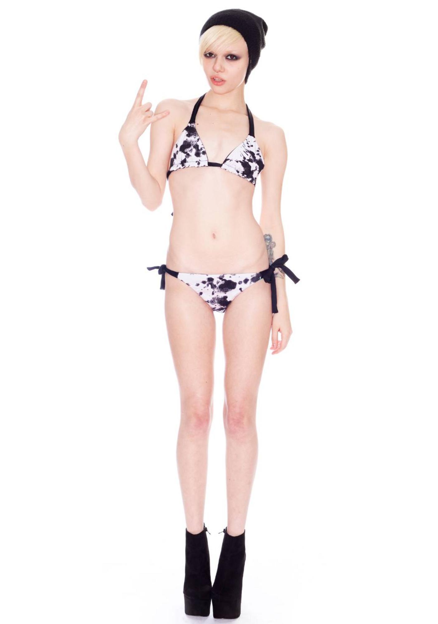 One Teaspoon Ink Cotton Tri Bikini