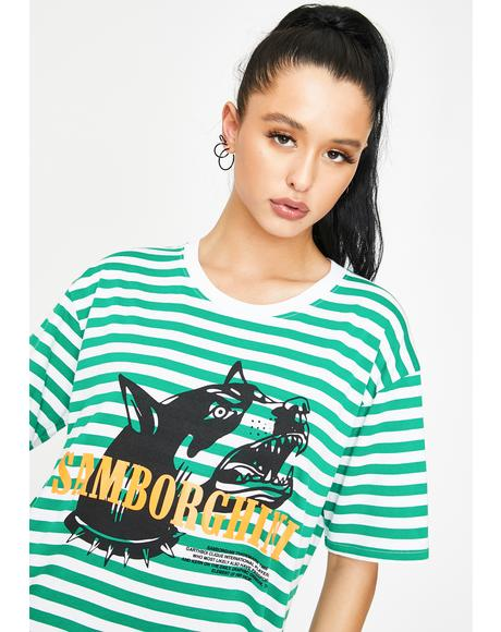 Barking Dog Stripe Graphic Tee