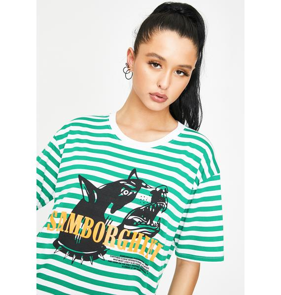 Samborghini Barking Dog Stripe Graphic Tee