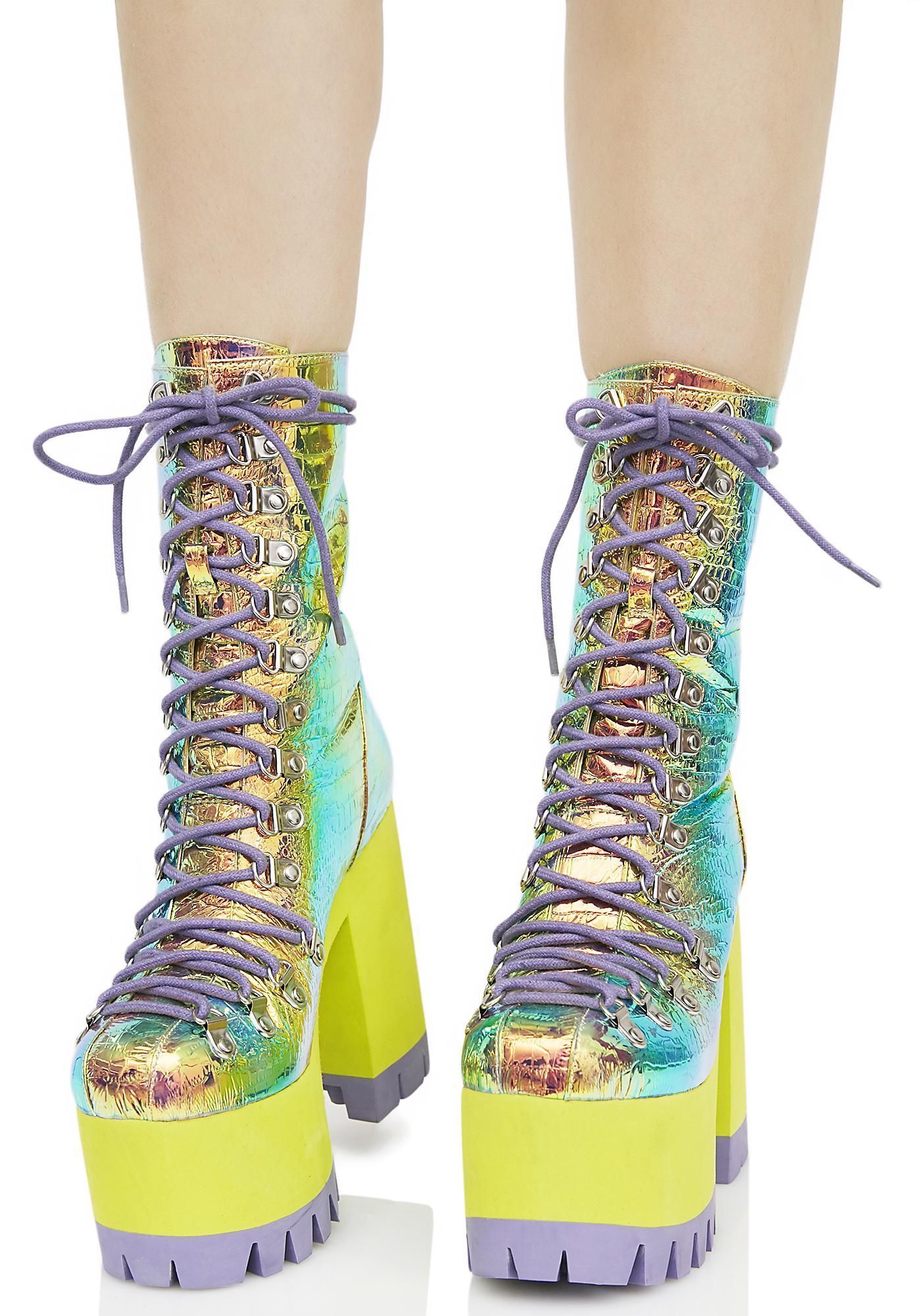 Current Mood Cosmic Matter Iridescent Platform Boots