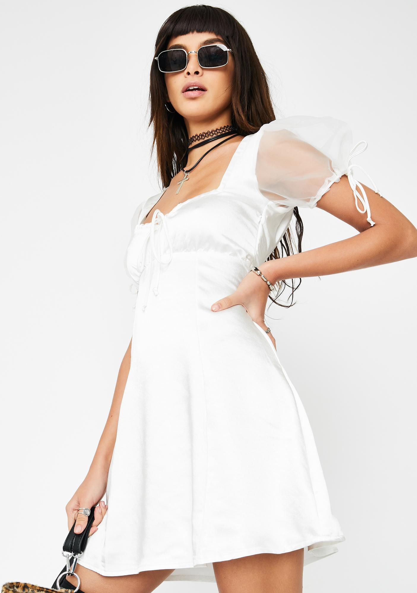 Motel Cream Guenelle Satin Dress