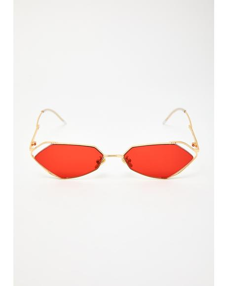 Fever Gold With Red Lens Sunglasses