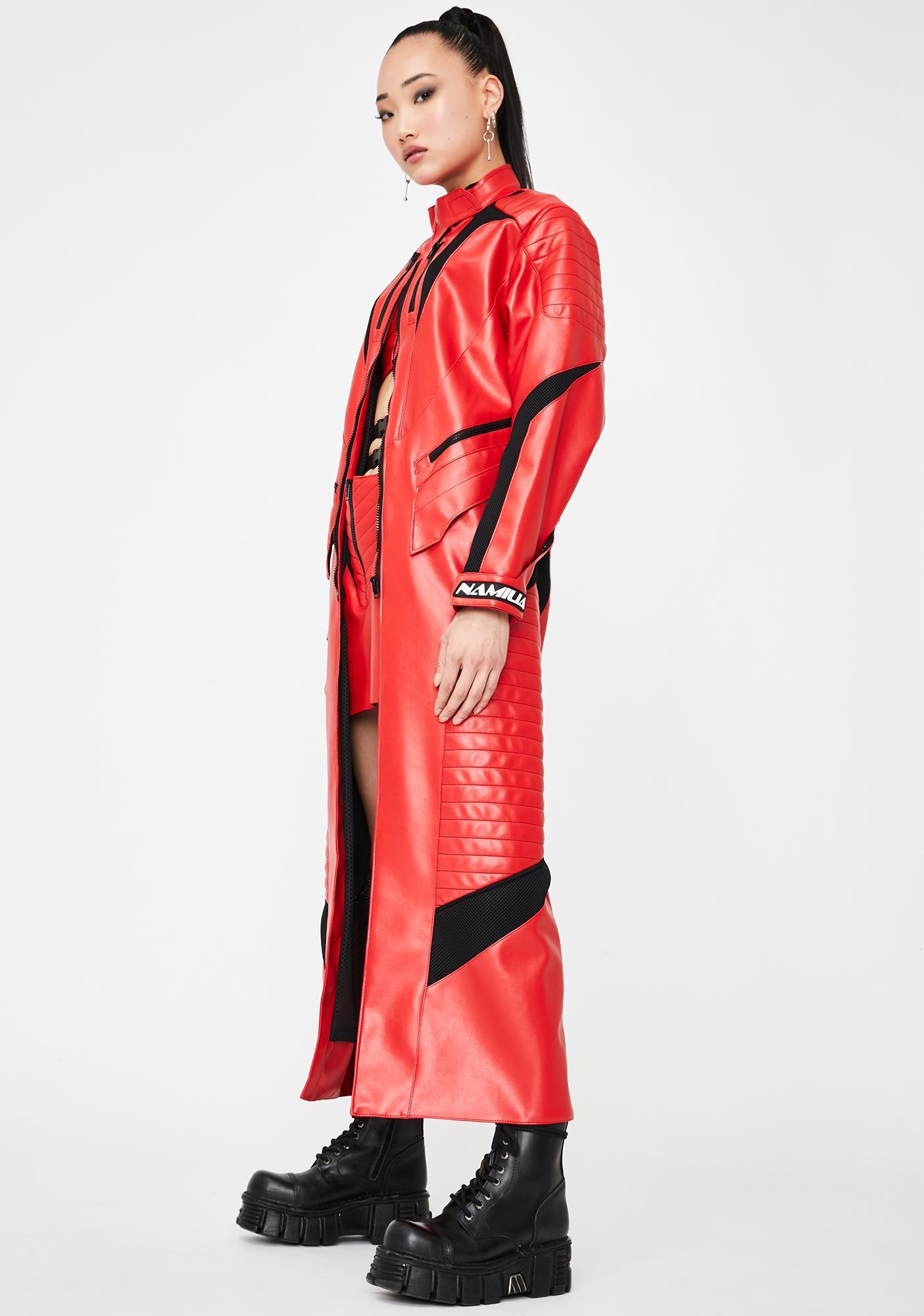 Namilia Red Motocross Long Coat