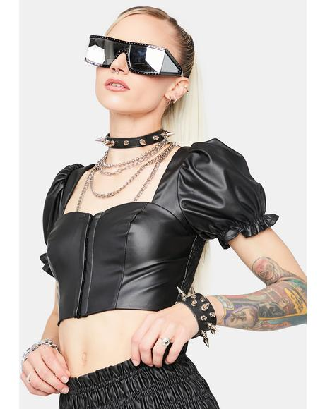 What's Your Function Faux Leather Crop Top