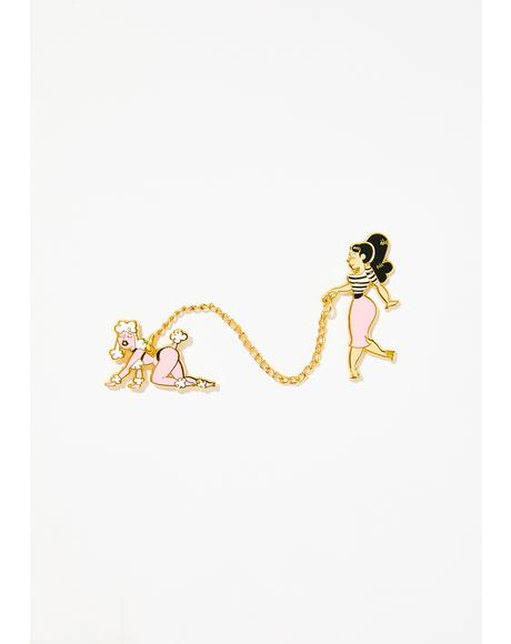 Poodle Girl Pin Set