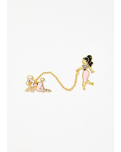 Poodle Girl Pin Set
