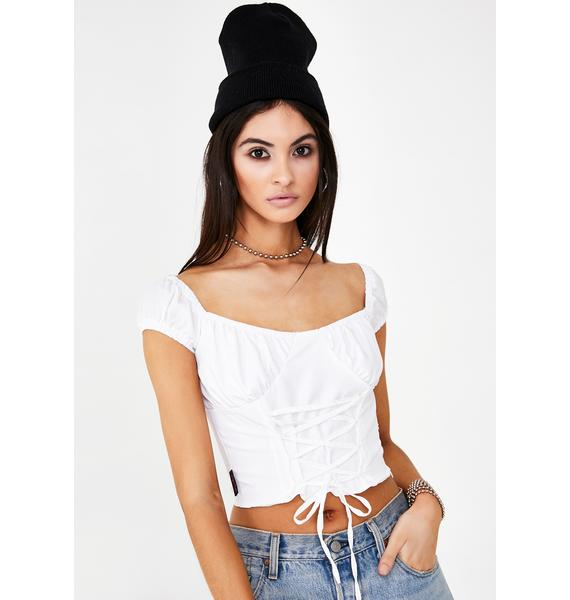 We Want Why Not Us Shoelace Blouse Top
