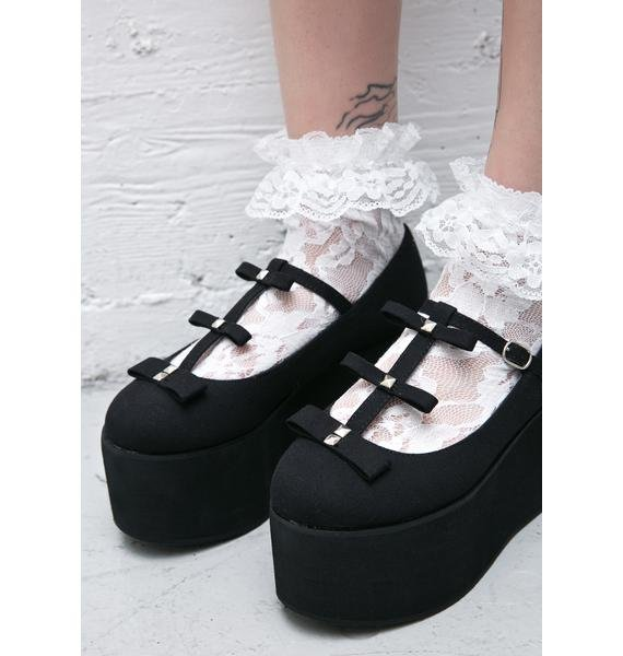 Demonia All Bows Down T-Strap Flatform