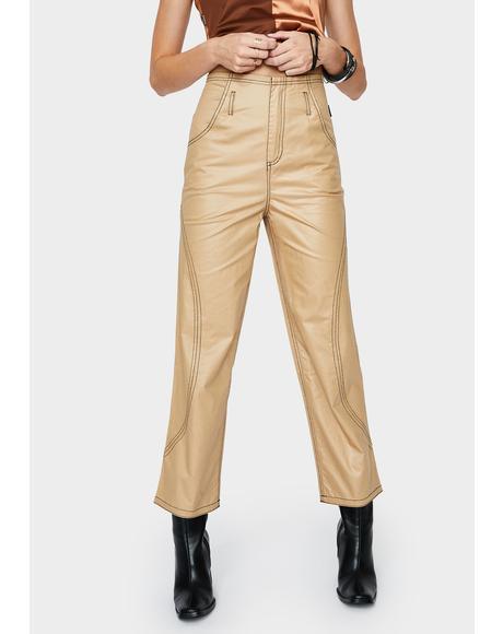 Beige Glossy High Waist Pants