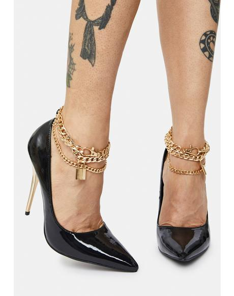 Luv Chain Anklet Stiletto Court Heels
