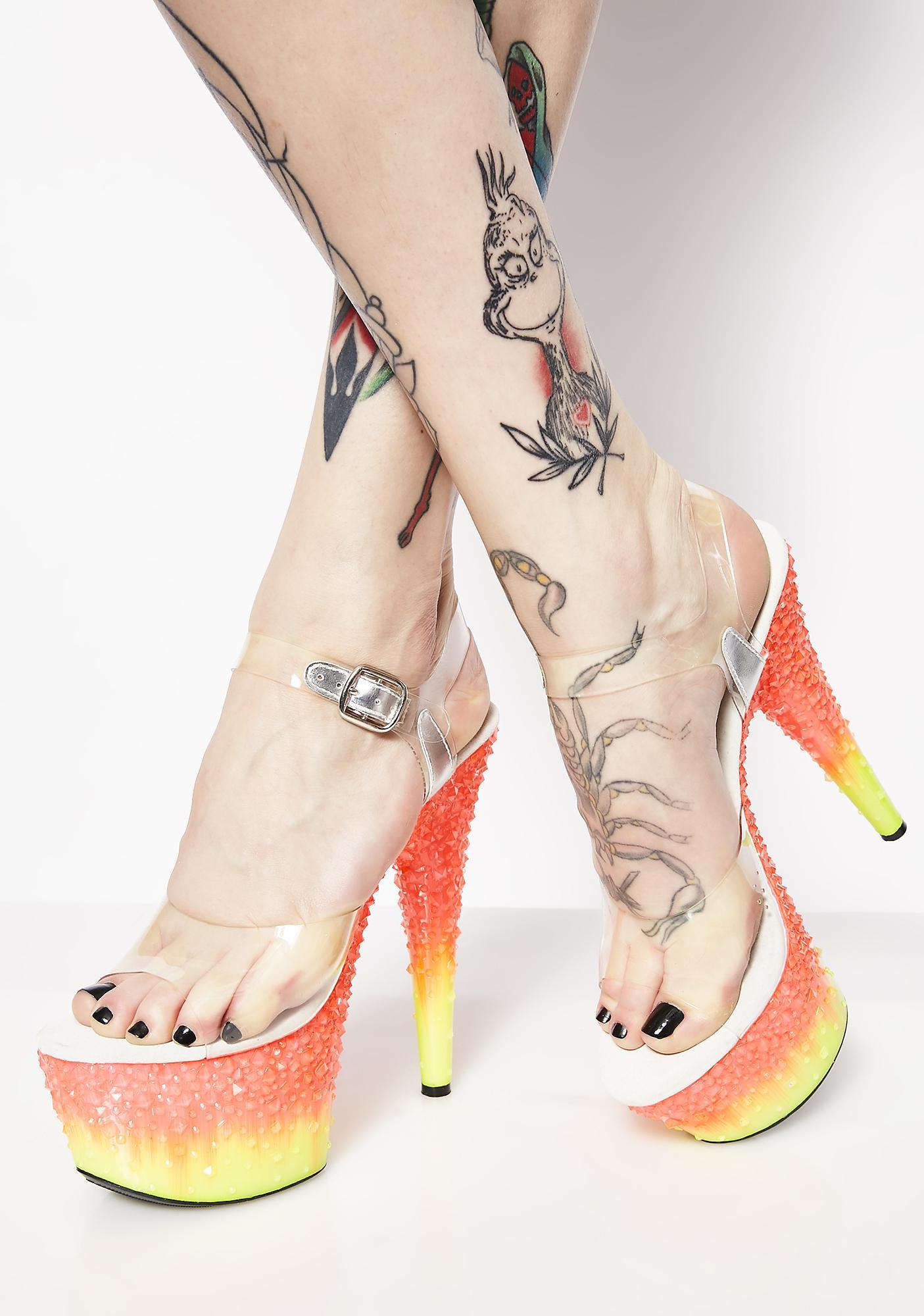 Crystal Flames Platform Heels