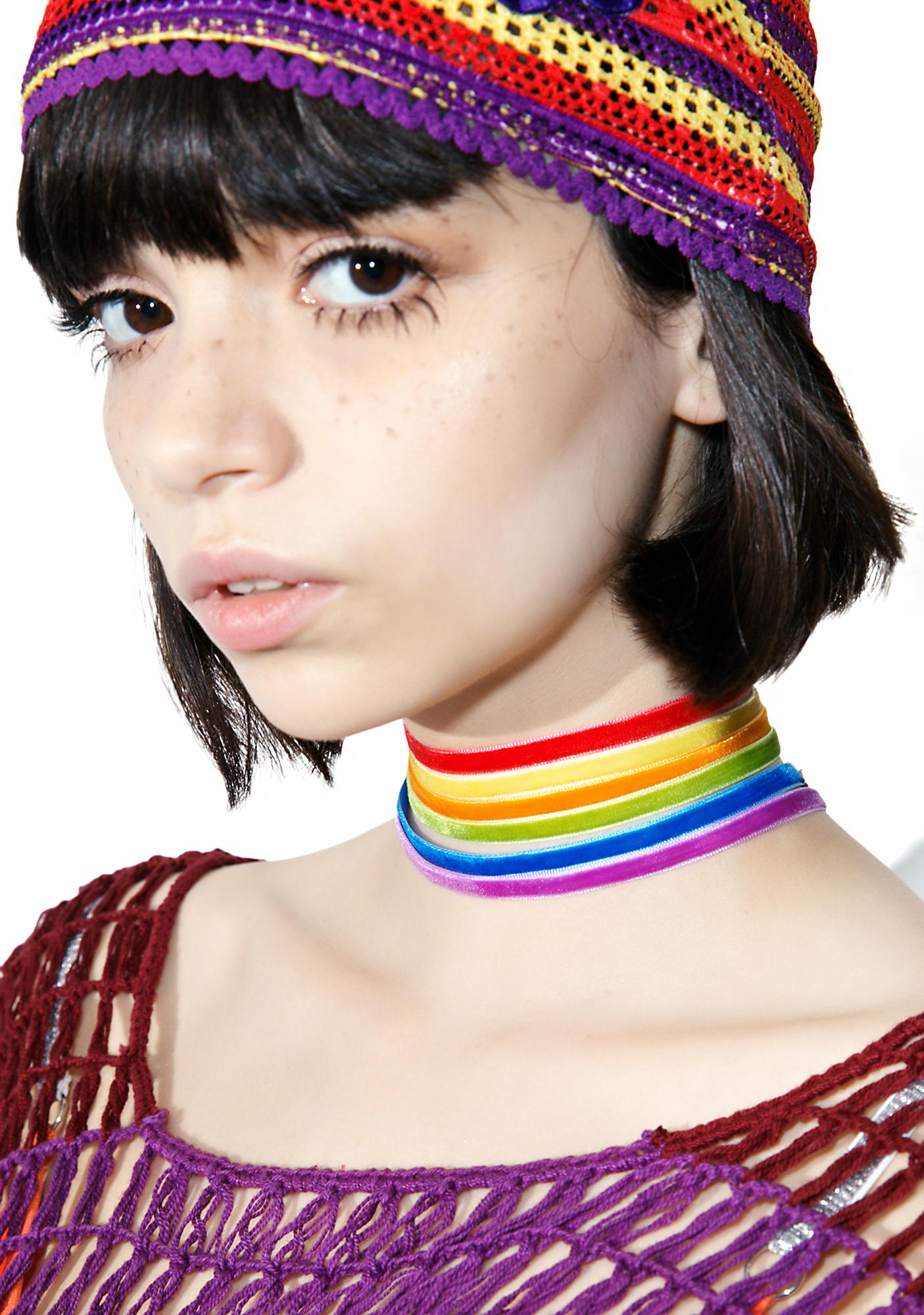 Velvet Rainbow Choker Set