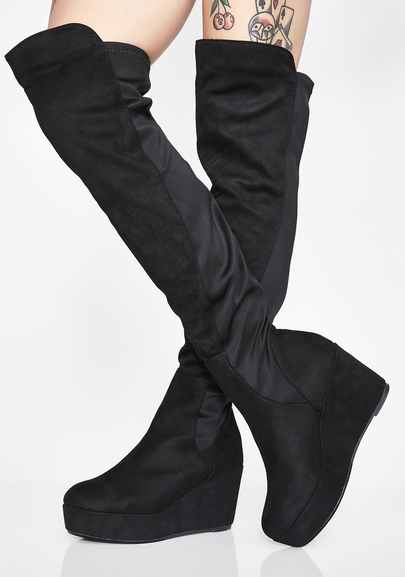 Flatform Vegan Suede Thigh High Boots