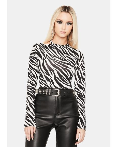 Jungle Jam Long Sleeve Zebra Top