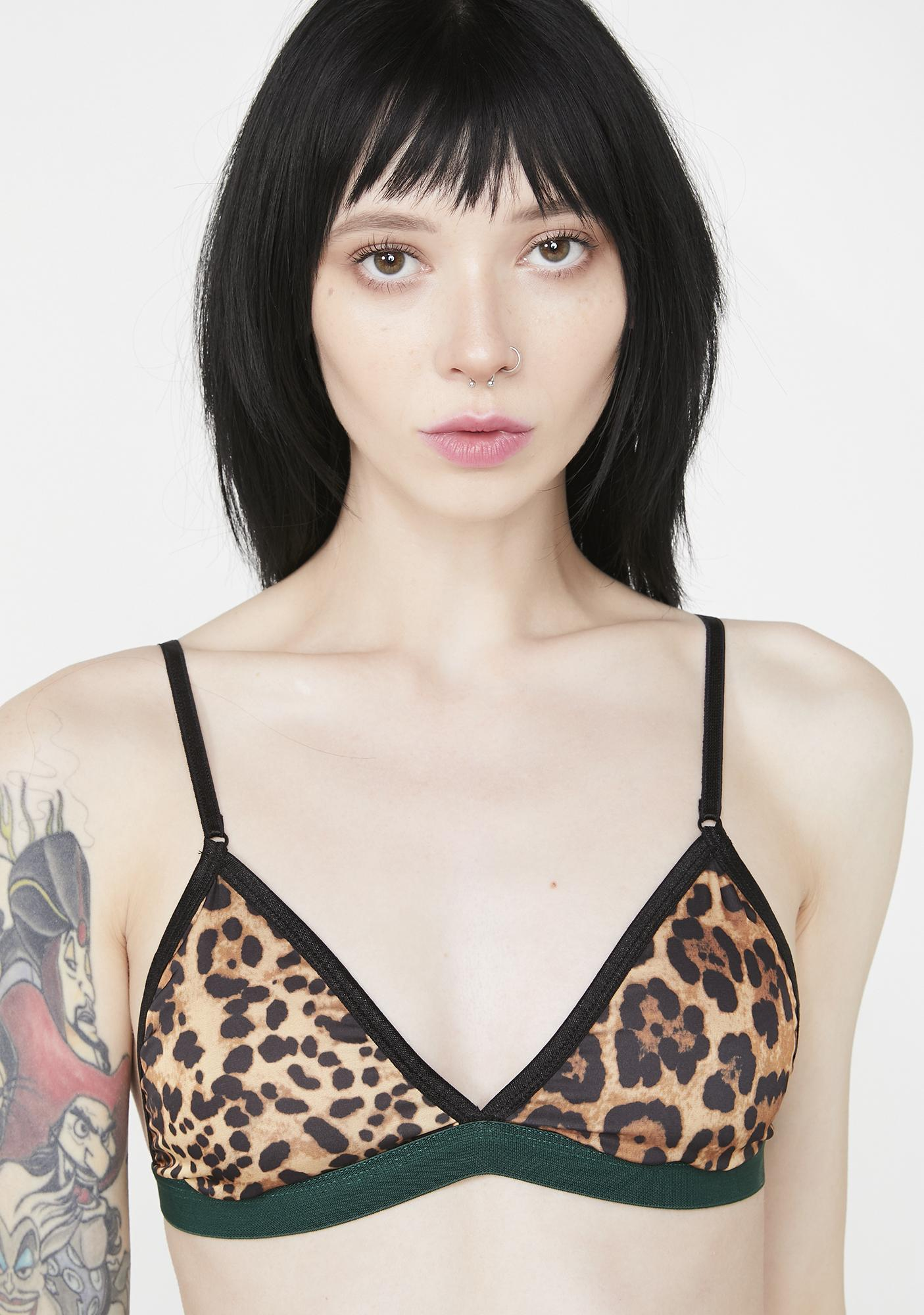 NGHTBRD Leopard Black Tapes Bra