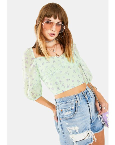 Green Watercolor Ditsy Crop Top