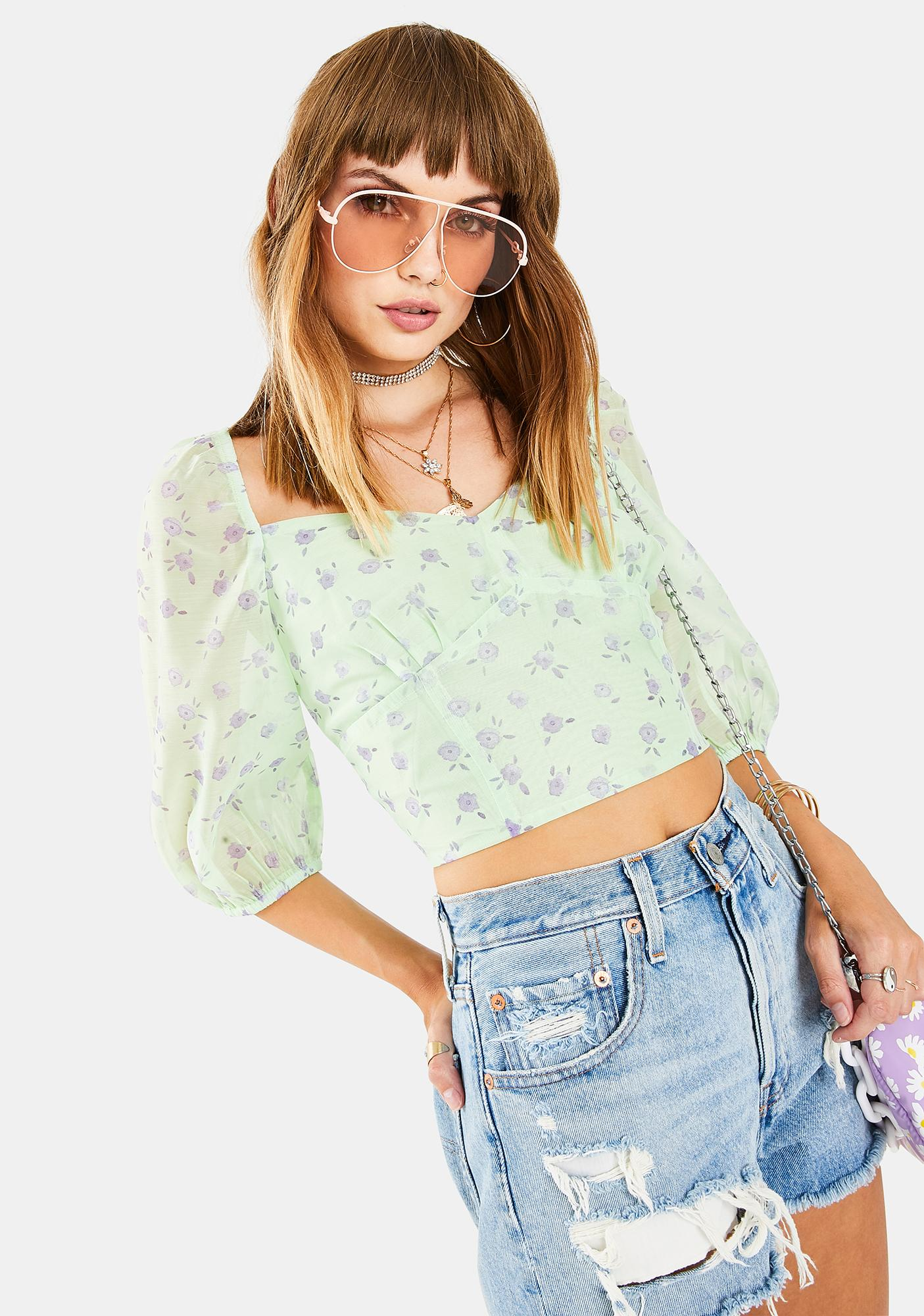 Glamorous Green Watercolor Ditsy Crop Top