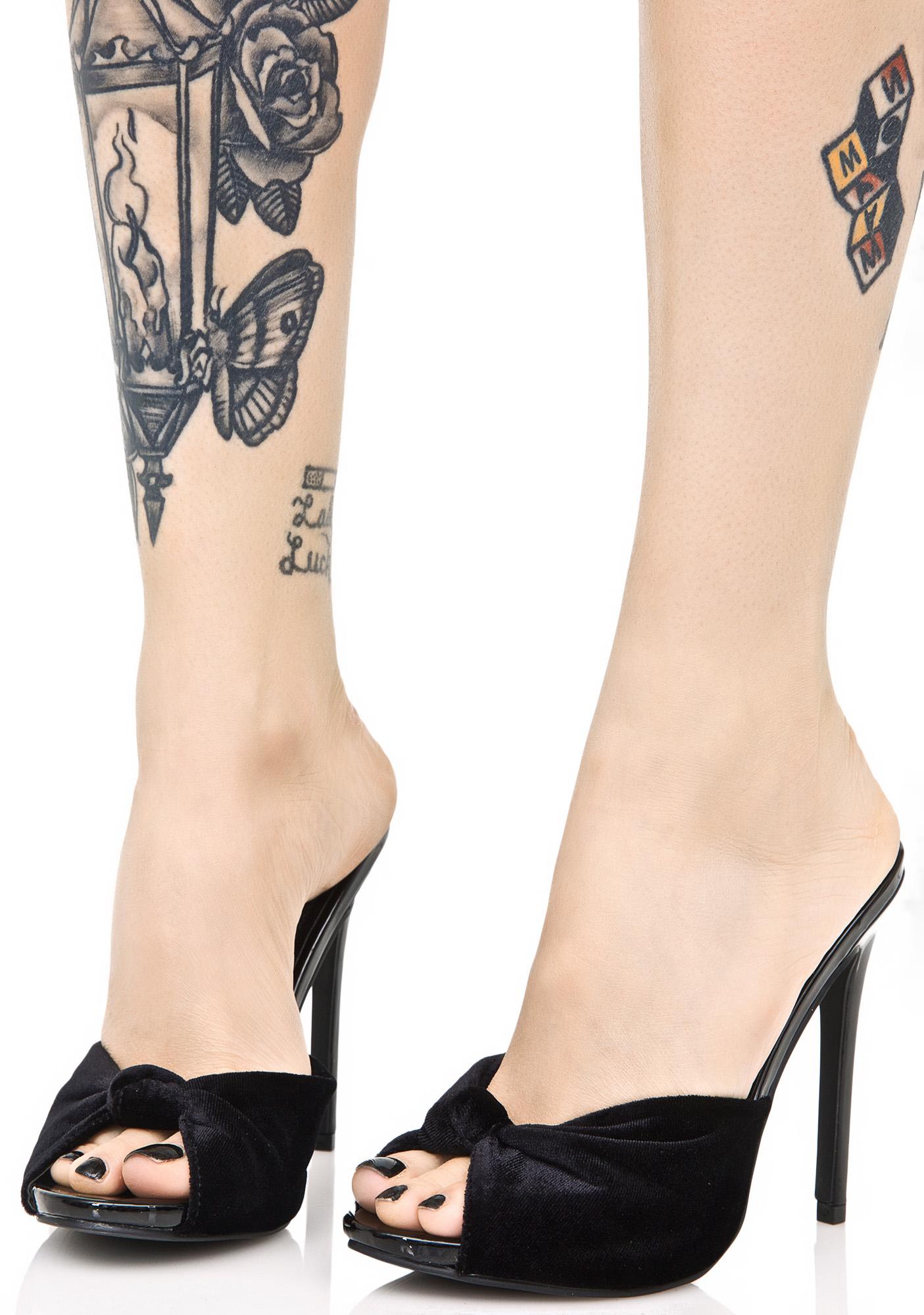 Velvet Open Toe Stiletto Heels