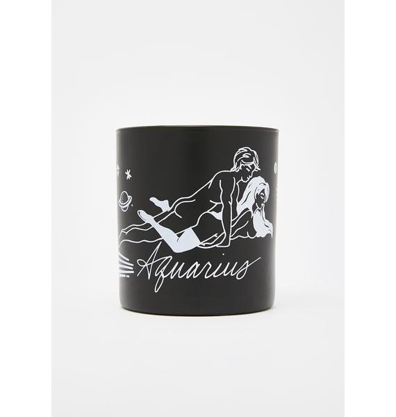 Black Cake Aquarius Zodiac Massage Candle