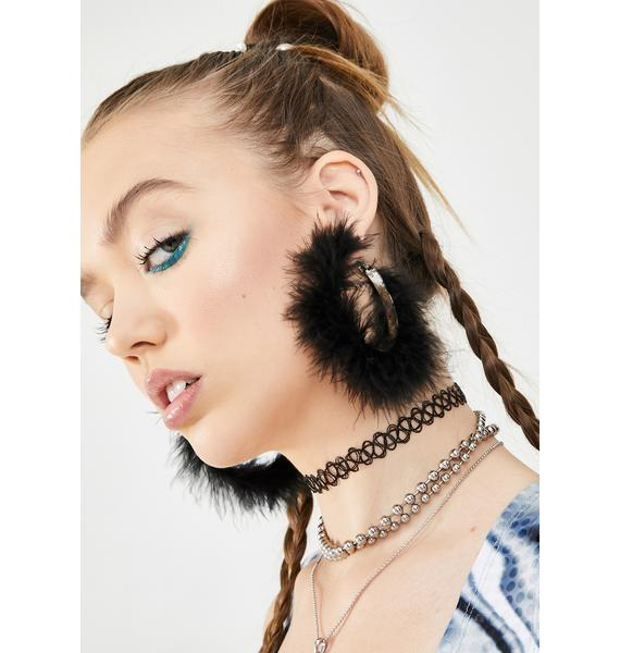 Material Girl Feather Hoops