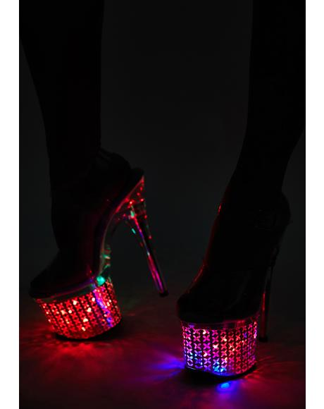 Discolite Light Up Flower Platform Heels