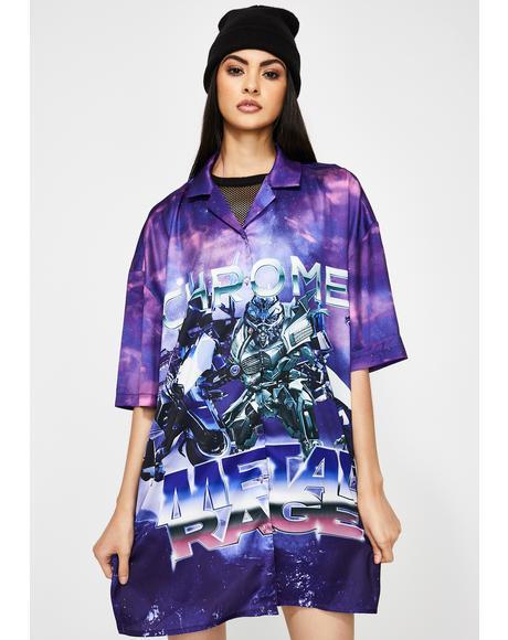 Robot Print Oversized Shirt Dress