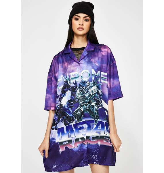 Jaded London Robot Print Oversized Shirt Dress
