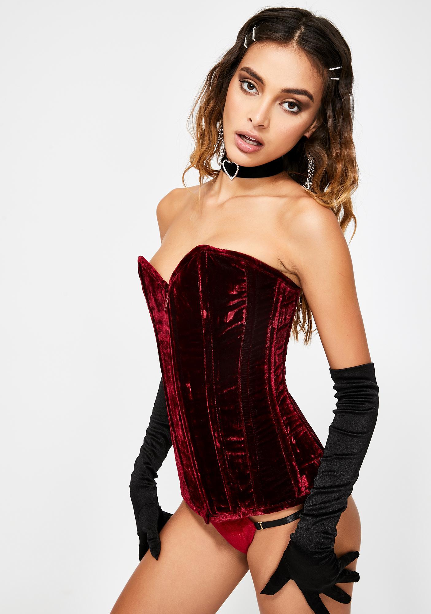 Daisy Corsets Lavish Crushed Red Velvet Corset