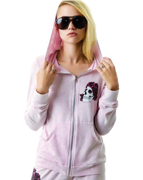 Rose Skull Candy Zip Up Hoodie