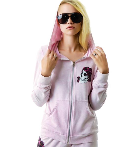 Lauren Moshi Rose Skull Candy Zip Up Hoodie