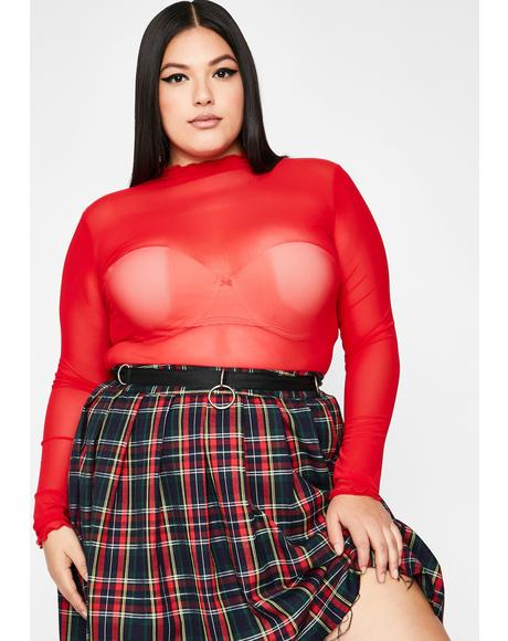 Scarlet So Sure Of Myself Mesh Top