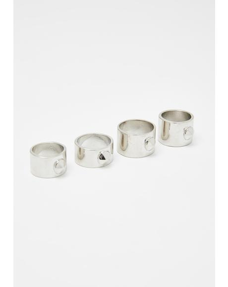 Stud Punk Ring Set