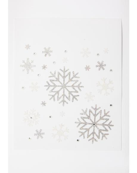 Festive Blizzard Snowflake Face Stickers