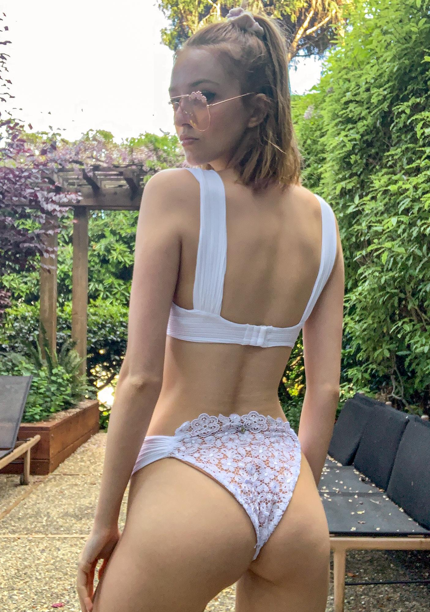 For Love & Lemons Ivory Daisy Lace Underwire Bikini Top