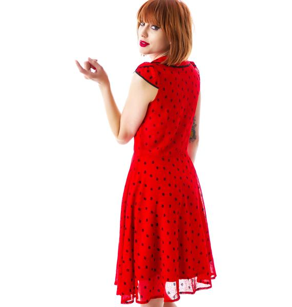 Adore Rose Dotted Chiffon Dress
