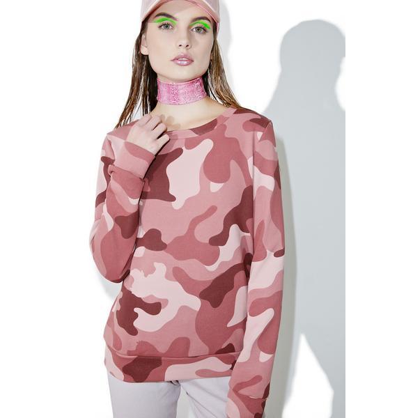 Glamorous Blushing Camo Sweater
